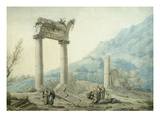 Hadrian's Aqueduct, Athens, Greece, 1775 Watercolour Giclee Print by Louis-Francois Cassas