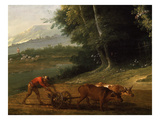 Peasant Ploughing, from Spring (Detail) Giclee Print by Jean-Baptiste Oudry