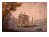 Small Temple of Asclepius, Villa Borghese, Rome, Late 18th Century Watercolour Impression giclée par Hubert Robert