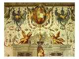 Grotesquerie with Shield and Animals, Fresco, Giocholieri (Jugglers) Salon, Castle Giclee Print by Cesare Baglione