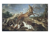 Stag Attacked by Pack of Hounds Giclée-Druck von Paul De Vos