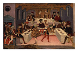 Banquet, Panel of Painted Coffer Depicting History of Alatiel, 15th Century Italian Giclée-tryk af Italian School