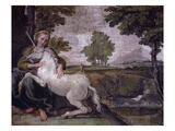 Unicorn, from Loves of the Gods Frescos, Carracci Gallery, Palazzo Farnese, Rome, Italy Giclée-tryk af Annibale Carracci