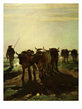 Cattle Going to Work (Boeufs Allant Au Labour) (Detail) Giclee Print by Constant Troyon