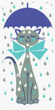 Umbrella Kitty Serigraph by  Print Mafia