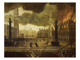 Fire at the Ducal Palace, Venice, Italy, 1577 Giclee Print by Lodewyk Toeput