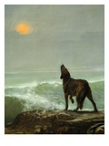 Dog Howling at the Moon, from Les Garde-Côtes Gaulois (Gaulish Coastguards) (Rf 907) (Detail) Giclee Print by Jean Jules Antoine Lecomte du Nouy
