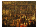 Coronation of Louis XV, 1710-74 King of France, Archiepiscopal Palace, Reims, France Giclee Print by Jean-Baptiste Martin