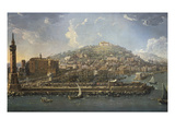 Port with Castello Nuovo (New Castle), Naples, Italy Giclee Print by Pietro Antoniani