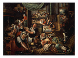 Kitchen Interior, 1565 Giclee Print by Marten Van Cleve