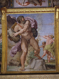 Furious Cyclops Polyphemus Throwing Rock from Volcano Etna at Men, from Loves of the Gods Frescos Fotografisk tryk af Annibale Carracci