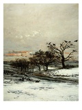 Trees and Crows, from Winter, Called Snow (L'Hiver, Dit La Neige), 1873 (Detail) Giclee Print by Charles-Francois Daubigny