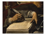 Writing Hand, from Saint Ambrose, 339-397 Ad Bishop and Doctor of the Church (Detail) Giclée-tryk af Rutilio Manetti