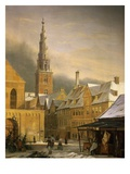 Winter in Copenhagen, Denmark, 1860, Showing the Dronningensgade Giclee Print by Niels-anders Bredal