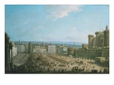 Central Square, Naples, Italy Giclée-tryk af Antonio Joli