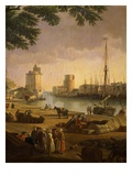 Port of La Rochelle, France, 1762 (After Vernet) (Detail) Giclee Print by Edouard Pinel