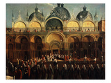 Doge before Saint Mark's Church, (San Marco) Venice, Italy, During Festival of Oars Giclee Print by Gabriele Bella