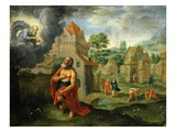 God Announcing the Flood to Noah, 17th Century Painting on Copper Giclee Print by  Flemish School