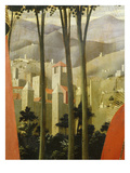 Landscape with Village, from the Deposition of Christ, 1435, from Holy Trinity Altarpiece (Detail) Giclee Print by Fra Angelico