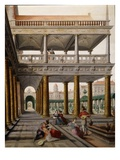 Fantastic Architecture with People, 1568 (Detail) Reproduction proc&#233;d&#233; gicl&#233;e par Hans Vredeman de Vries