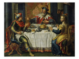 King Ahasuerus (Xerxes) Giving Banquet for Esther, 17th Century Painting on Copper Giclee Print by  Flemish School