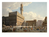 Piazza Della Signoria, Florence, Italy, 1830 Watercolour Giclee Print by Frédéric Guillaume Moritz