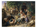 Daily Life in Rhenania (Rhineland, Germany), 1833 Giclee Print by Adolf Schrodter