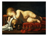 Putto Sleeping on a Skull Giclee Print by Luigi Miradori