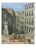 Chiesa San Paolo (Saint Paul's Church), Naples, Italy (Detail Showing Carriage) Giclée-tryk af Antonio Joli