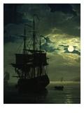 La Nuit Un Port De Mer Au Clair De Lune (Night Sea Port in Moon Light), 1771 (Detail) Giclée-Druck von Claude Joseph Vernet