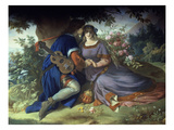 Love Poem of Walter Van Der Vogelweide, 19th Century Fresco Giclee Print by Edward Ille