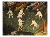 Making Hay, from July or Leo, Fresco from Cycle of Months C.1400 Buonconsiglio Castle (Detail) Giclee Print by  Venceslao