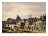 Rue Colbert, Versailles, France, 1830 Gouache Giclee Print by Antoine de Larouziere