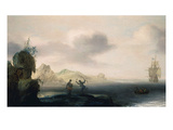Dutch Ship and Boat by New World Coast, 1626 Giclee Print by Johan Goderis