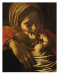 Faces of Madonna and Child, from Adoration of the Shepherds (Detail) Giclée-tryk af  Caravaggio