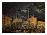 Campo (Main Square), Siena, Italy, 2 April 1739 Giclee Print by Giuseppe Zocchi