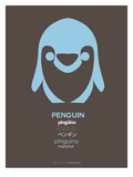 Blue Pinguin Multilingual Poster Print by  NaxArt