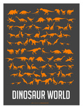 Dinosaur Poster Orange Posters by  NaxArt