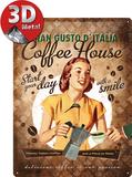 Coffee House Lady Plaque en métal