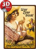 Wer Bier trinkt hilft... Fräulein Plaque en métal