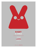 Red Rabbit Multilingual Poster Prints by  NaxArt