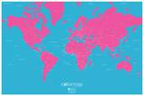 Color Map - Pop - Pink and Blue Map Poster Prints