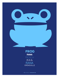 Blue Frog Multilingual Poster Art by  NaxArt