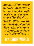 Dinosaur Poster Yellow Prints by  NaxArt
