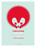 Red Porcupine Multilingual Poster Posters by  NaxArt