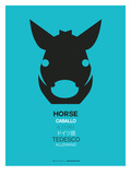 Black Horse Multilingual Poster Print by  NaxArt