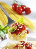 Spaghetti with Tomato Sauce on a Fork Photographic Print by Karl Newedel