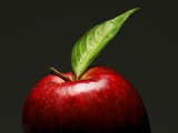 A Red Apple with Leaf Lámina fotográfica por Gustavo Andrade