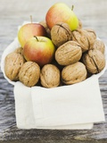 Walnuts and Apples on Cloth in White Bowl Photographic Print