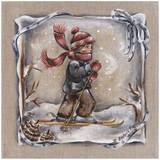 Skieur Ruban Blanc Poster by Stephanie Holbert